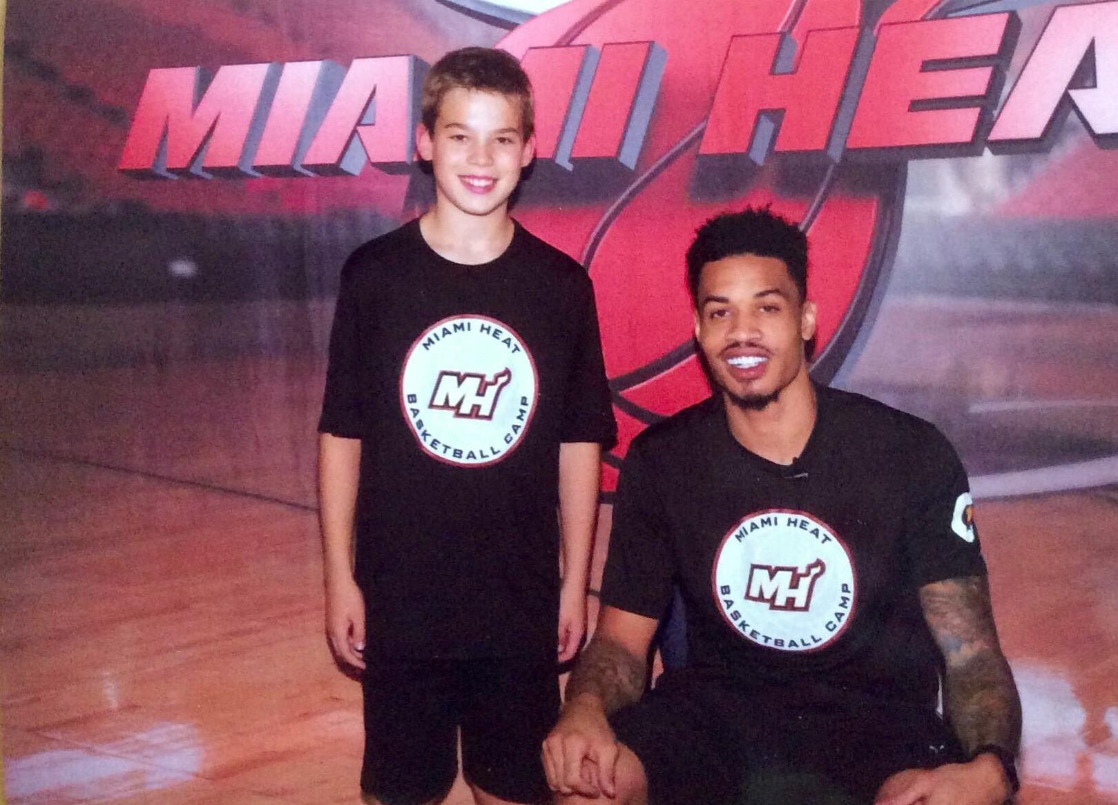 2015 08 Miami Heat Camp Niki Mylonas Miami Heat Spieler und ehemalige Slam Dunk Champion Gerald Green